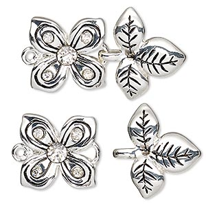 "Clasp, Hook-and-eye, Glass Rhinestone Antique Silver-finished ""pewter"" (zinc-based Alloy) Pewter (tin-based Alloy), Clear, 39x24mm Flower Leaves. Sold Individually"