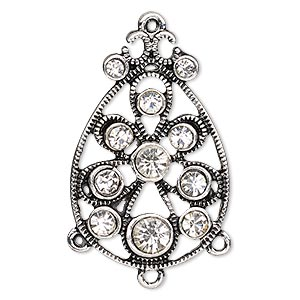 """Focal, Glass Rhinestone Antique Silver-finished """"pewter"""" (zinc-based Alloy), Clear, 35x23mm Fancy Teardrop 3 Loops. Sold Individually"""