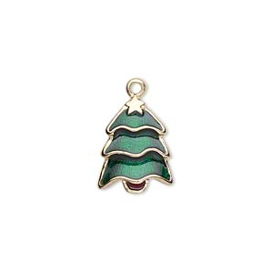 "Charm, Gold-finished ""pewter"" (zinc-based Alloy) Enamel, Green Brown, 16x12mm Single-sided Christmas Tree. Sold Per Pkg 2"
