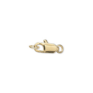 Clasp, Lobster Claw, Gold-plated Brass, 12x5mm 2 Jumprings. Sold Per Pkg 500