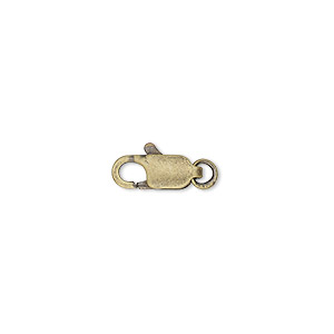 Clasp, Lobster Claw, Antique Gold-plated Brass, 10x5mm Jumpring. Sold Per Pkg 10