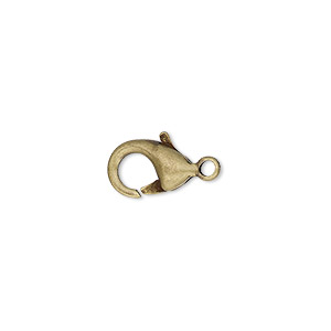Clasp, Lobster Claw, Antique Gold-plated Brass, 11.5x8mm. Sold Per Pkg 10