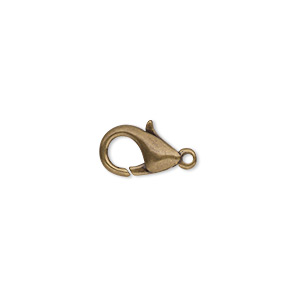 Clasp, Lobster Claw, Antique Gold-plated Brass, 12x7mm. Sold Per Pkg 100