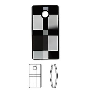 Drop, Swarovski® Crystals, Crystal Passions®, Jet, 30mm Faceted Urban Pendant (6696). Sold Individually 6696