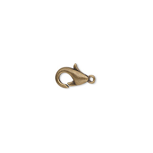 Clasp, Lobster Claw, Antique Gold-plated Brass, 10x6mm. Sold Per Pkg 100