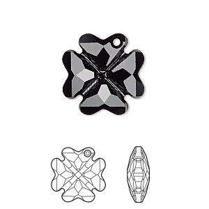 Drop, Swarovski® Crystals, Crystal Passions®, Jet, 19mm Faceted Clover Pendant (6764). Sold Individually 6764