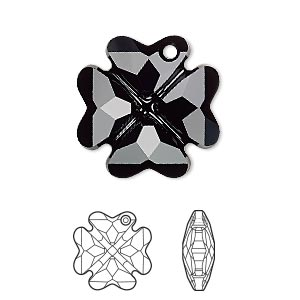 Drop, Swarovski® Crystals, Crystal Passions®, Jet, 23mm Faceted Clover Pendant (6764). Sold Individually 6764