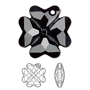 Drop, Swarovski® Crystals, Crystal Passions®, Jet, 28mm Faceted Clover Pendant (6764). Sold Individually 6764