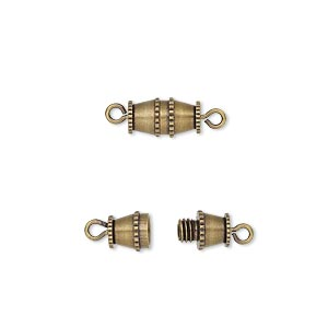 Clasp, Barrel, Antique Gold-plated Brass, 10x5mm. Sold Per Pkg 10