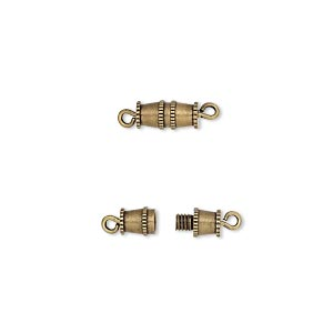 Clasp, Barrel, Antique Gold-plated Brass, 8x4mm. Sold Per Pkg 100