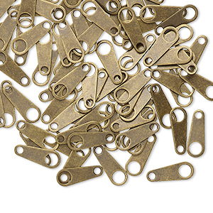 Chain Tab, Antique Gold-plated Brass, 10x4mm. Sold Per Pkg 100