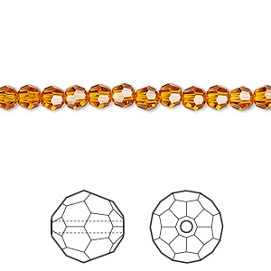 Bead, Swarovski® Crystals, Crystal Passions®, Tangerine, 4mm Faceted Round (5000). Sold Per Pkg 144 (1 Gross) 5000