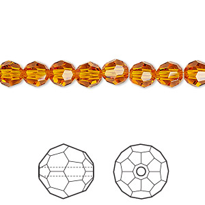 Bead, Swarovski® Crystals, Tangerine, 6mm Faceted Round (5000). Sold Per Pkg 360 5000