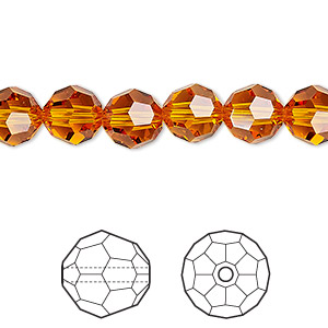 Bead, Swarovski® Crystals, Tangerine, 8mm Faceted Round (5000). Sold Per Pkg 288 (2 Gross) 5000