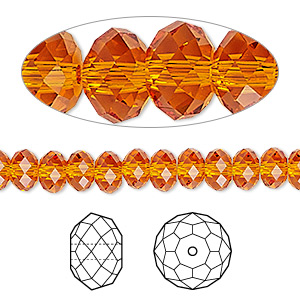 Bead, Swarovski® Crystals, Crystal Passions®, Tangerine, 6x4mm Faceted Rondelle (5040). Sold Per Pkg 144 (1 Gross) 5040