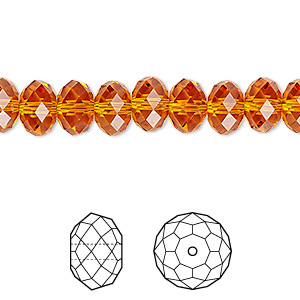 Bead, Swarovski® Crystals, Crystal Passions®, Tangerine, 8x6mm Faceted Rondelle (5040). Sold Per Pkg 144 (1 Gross) 5040