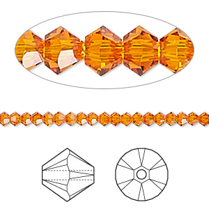 Bead, Swarovski® Crystals, Crystal Passions®, Tangerine, 3mm Xilion Bicone (5328). Sold Per Pkg 144 (1 Gross) 5328
