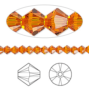 Bead, Swarovski® Crystals, Crystal Passions®, Tangerine, 4mm Xilion Bicone (5328). Sold Per Pkg 144 (1 Gross) 5328