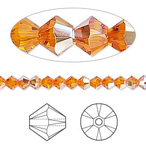 Bead, Swarovski® Crystals, Crystal Passions®, Tangerine AB, 4mm Xilion Bicone (5328). Sold Per Pkg 144 (1 Gross) 5328