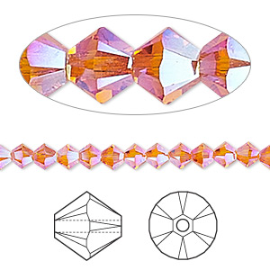 Bead, Swarovski® Crystals, Crystal Passions®, Tangerine AB2X, 4mm Xilion Bicone (5328). Sold Per Pkg 144 (1 Gross) 5328