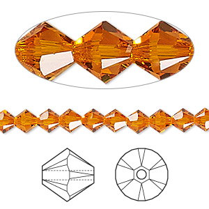 Bead, Swarovski® Crystals, Crystal Passions®, Tangerine, 5mm Xilion Bicone (5328). Sold Per Pkg 144 (1 Gross) 5328