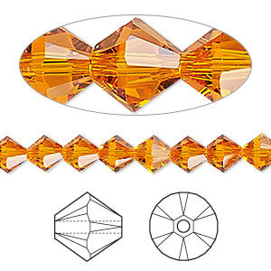 Bead, Swarovski® Crystals, Crystal Passions®, Tangerine, 6mm Xilion Bicone (5328). Sold Per Pkg 24 5328