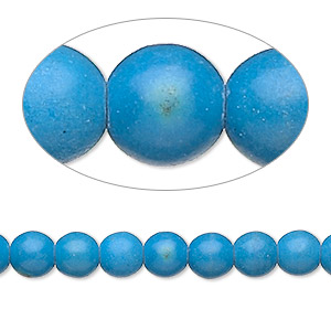 Bead, Magnesite (dyed / Stabilized), Dark Blue, 5-6mm Round, C Grade, Mohs Hardness 3-1/2 4. Sold Per 15-inch Strand