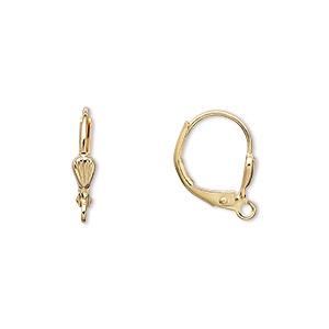 Earwire, Gold-plated Brass, 15mm Leverback 6x3mm Shell Open Loop. Sold Per Pkg 250 Pairs