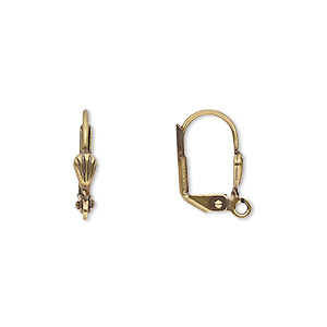 Earwire, Antique Gold-plated Brass, 16mm Leverback 6x3mm Shell Open Loop. Sold Per Pkg 50 Pairs