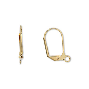 Earwire, Gold-plated Brass, 17.5mm Leverback Open Loop. Sold Per Pkg 250 Pairs