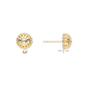 Earstud, Gold-plated Brass Stainless Steel, 8mm Filigree Dome Closed Loop. Sold Per Pkg 5 Pairs