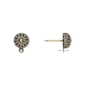 Earstud, Antique Gold-plated Brass Stainless Steel, 8mm Filigree Dome Closed Loop. Sold Per Pkg 5 Pairs