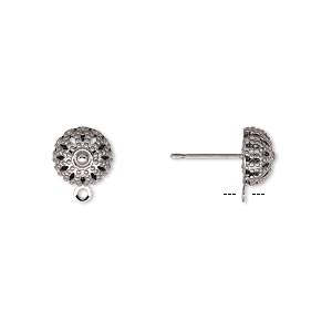Earstud, Gunmetal-plated Brass Stainless Steel, 8mm Filigree Dome Closed Loop. Sold Per Pkg 50 Pairs