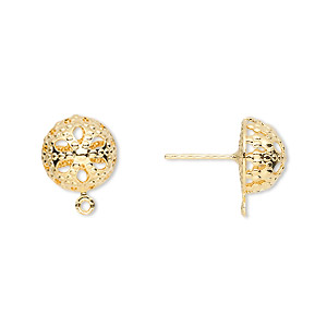 Earstud, Gold-plated Brass Stainless Steel, 10mm Filigree Dome Closed Loop. Sold Per Pkg 5 Pairs