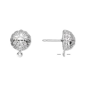 Earstud, Silver-plated Brass Stainless Steel, 10mm Filigree Dome Closed Loop. Sold Per Pkg 50 Pairs