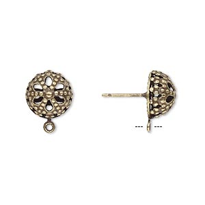 Earstud, Antique Gold-plated Brass Stainless Steel, 10mm Filigree Dome Closed Loop. Sold Per Pkg 5 Pairs