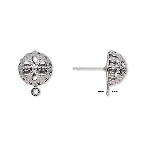 Earstud, Gunmetal-plated Brass Stainless Steel, 10mm Filigree Dome Closed Loop. Sold Per Pkg 5 Pairs