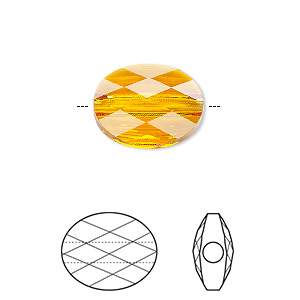 Bead, Swarovski® Crystals, Crystal Passions®, Tangerine, 8x6mm Faceted Mini Oval (5051). Sold Per Pkg 24 5051