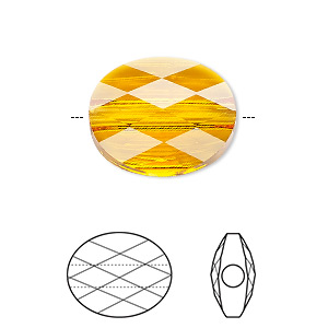 Bead, Swarovski® Crystals, Crystal Passions®, Tangerine, 10x8mm Faceted Mini Oval (5051). Sold Per Pkg 24 5051