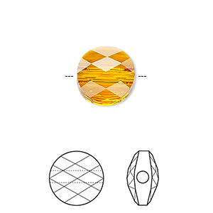 Bead, Swarovski® Crystals, Crystal Passions®, Tangerine, 6mm Faceted Mini Round (5052). Sold Per Pkg 24 5052