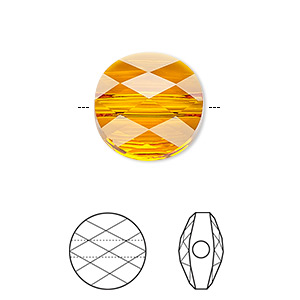 Bead, Swarovski® Crystals, Crystal Passions®, Tangerine, 8mm Faceted Mini Round (5052). Sold Per Pkg 2 5052