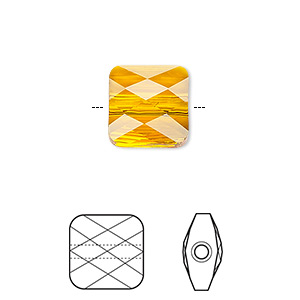 Bead, Swarovski® Crystals, Crystal Passions®, Tangerine, 6x6mm Faceted Mini Square (5053). Sold Per Pkg 2 5053