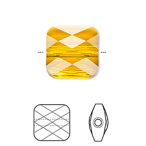 Bead, Swarovski® Crystals, Crystal Passions®, Tangerine, 8x8mm Faceted Mini Square (5053). Sold Per Pkg 2 5053