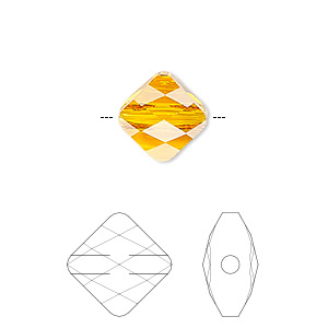 Bead, Swarovski® Crystals, Crystal Passions®, Tangerine, 6x6mm Faceted Mini Rhombus (5054). Sold Per Pkg 2 5054