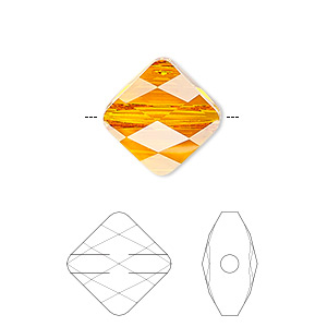 Bead, Swarovski® Crystals, Crystal Passions®, Tangerine, 8x8mm Faceted Mini Rhombus (5054). Sold Per Pkg 2 5054