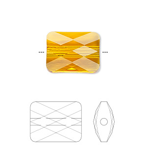 Bead, Swarovski® Crystals, Crystal Passions®, Tangerine, 8x6mm Faceted Mini Rectangle (5055). Sold Per Pkg 2 5055