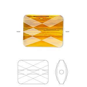 Bead, Swarovski® Crystals, Crystal Passions®, Tangerine, 10x8mm Faceted Mini Rectangle (5055). Sold Per Pkg 2 5055