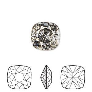 Embellishment, Swarovski® Crystal Rhinestone, Crystal Gold Patina, Foil Back, 12x12mm Faceted Cushion Fancy Stone (4470). Sold Per Pkg 72 4470