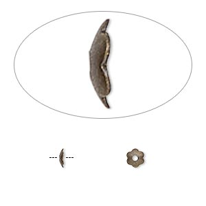 Bead Cap, Antique Gold-plated Brass, 4x1mm Scalloped Round, Fits 4-6mm Bead. Sold Per Pkg 500