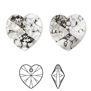 Swarovski 6228 Xilion Heart Pendant 18mm Crystal White Patina